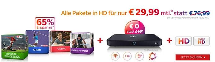 Alle Sky Pakete in HD für nur 29,99 €