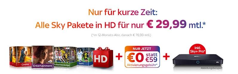 Sky Komplett Angebot mit Sky Entertainment Grundpaket für 29,99 €