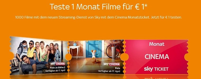 Sky Cinema Monatsticket Angebot