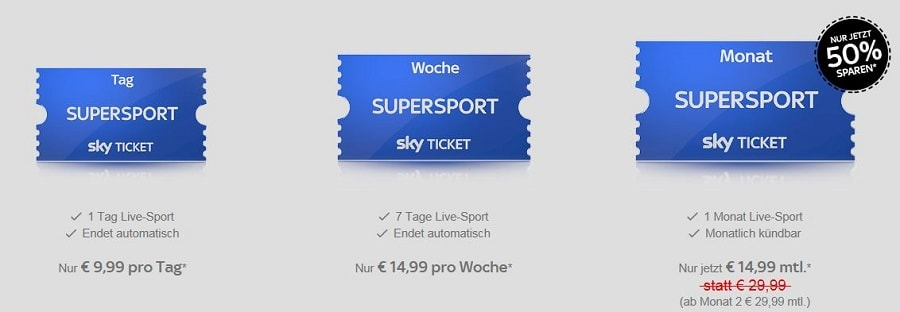 Sky Supersport Monatsticket Angebot