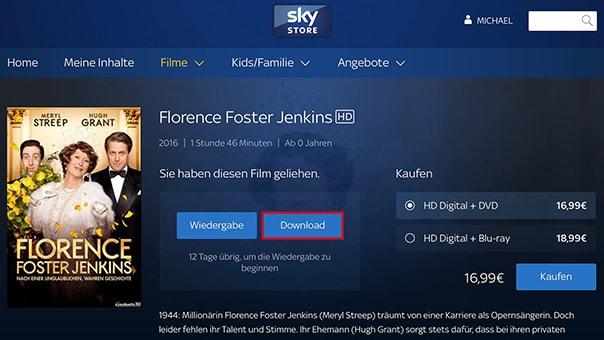 So einfach können Inhalte von Sky Store heruntergeladen werden
