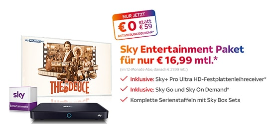 Sky Entertainment Paket für nur 16,99 EUR