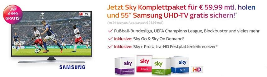 Sky Komplett Angebot inkl. 55″ Samsung UHD-TV gratis