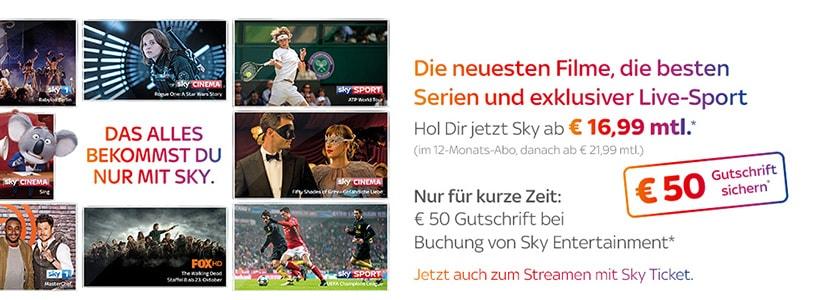 Sky Entertainment Paket mit 50 Euro Gutschrift