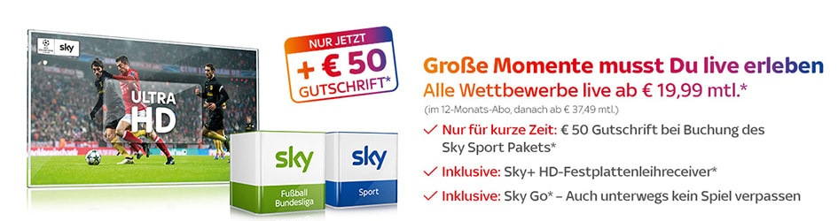 Sky Sport Paket inkl. 50 € Gutschrift