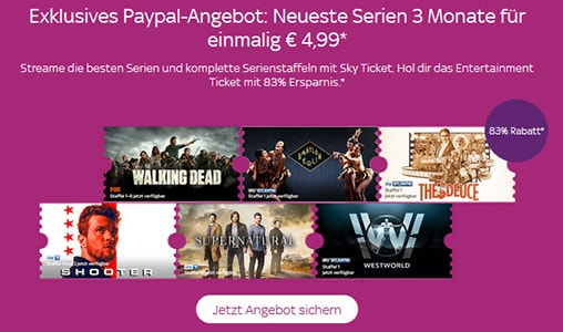 PayPal Sky Entertainment Monatsticket