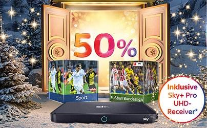 Sky Weihnachtsspecial Angebot - 50% Rabatt auf alle Pakete