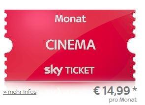 Sky Cinema Monatsticket für 14,99 EUR pro Monat