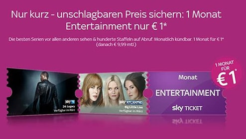 Sky Entertainment Monatsticket für 1 Euro