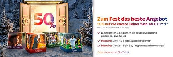 Sky Weihnachtsangebot - Abo für 11 €
