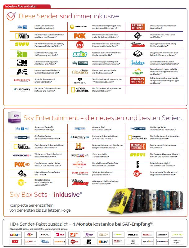 sky entertainment programme liste