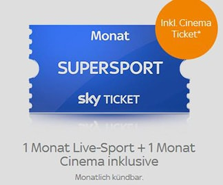 Sky Supersport Monatsticket inkl. Cinema Ticket für nur 29,99 €