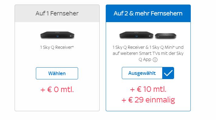 Sky Multiscreen Kostenübersicht